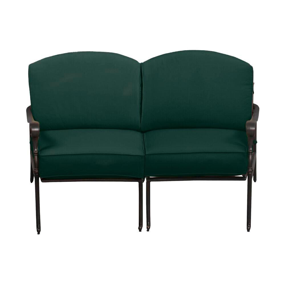 Edington Bronze Aluminum Outdoor Patio Loveseat with Standard Charelston Blue-Green Cushions