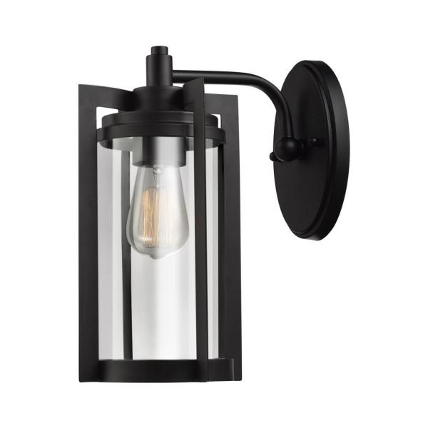 Theo 1-Light Bronze Outdoor Wall Lantern Sconce