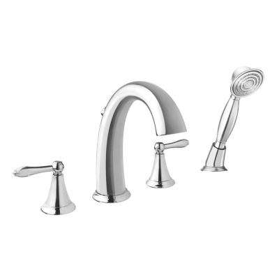 Montbeliard 2-Handle Deck Mount Roman Tub Faucet with Handshower in Chrome