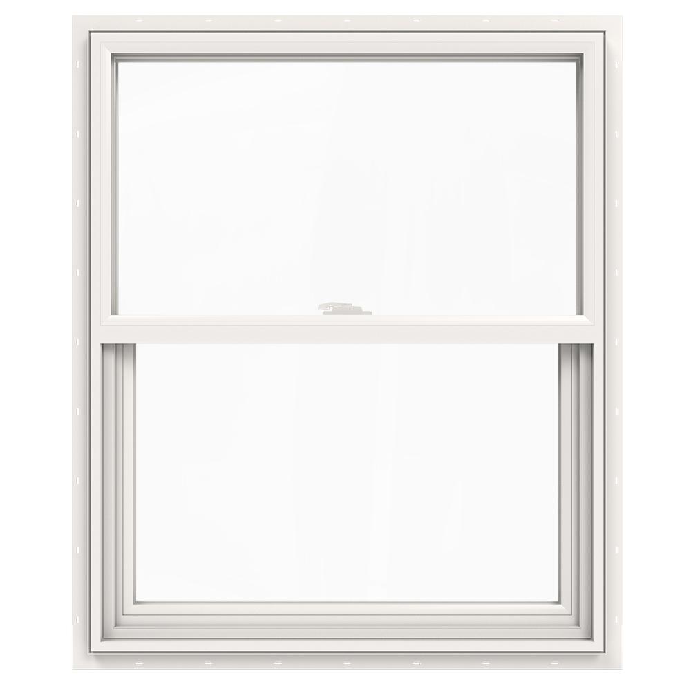 JELD-WEN JELD-WEN 29.5 in. x 35.5 in. V-2500 Series White Vinyl Single Hung Window with Fiberglass Mesh Screen
