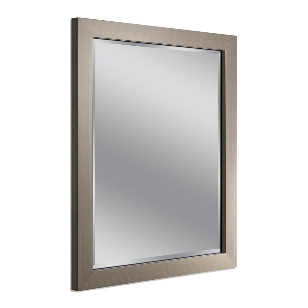 Metal framed mirrors bathroom home ideas for Bathroom mirrors brushed nickel