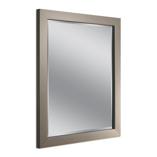 Modern 26 in. W x 32 in. H Framed Rectangular Beveled Edge Bathroom Vanity Mirror in Brush Nickel