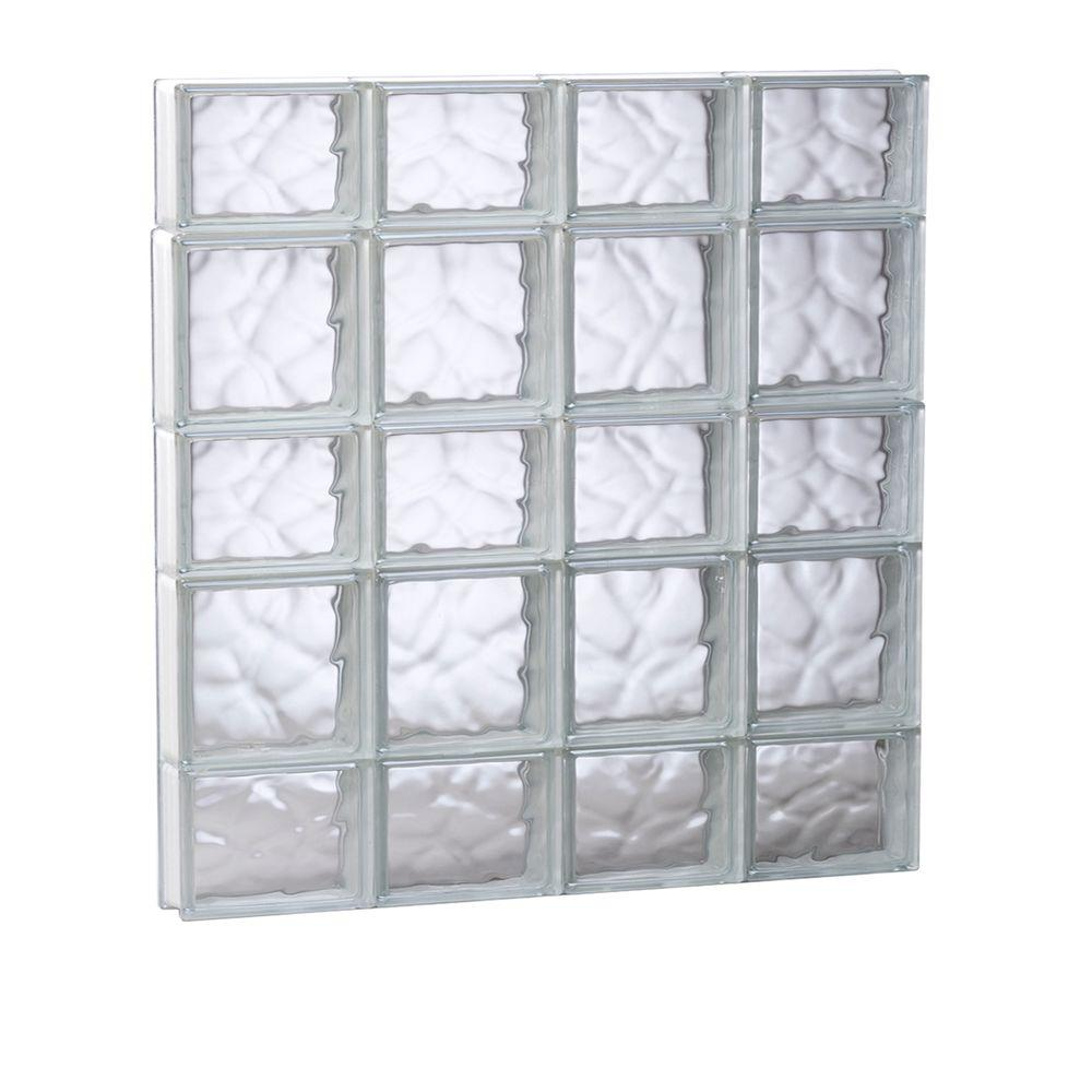 Clearly Secure 31 in. x 32.75 in. x 3.125 in. Frameless Wave Pattern Non-Vented Glass Block Window