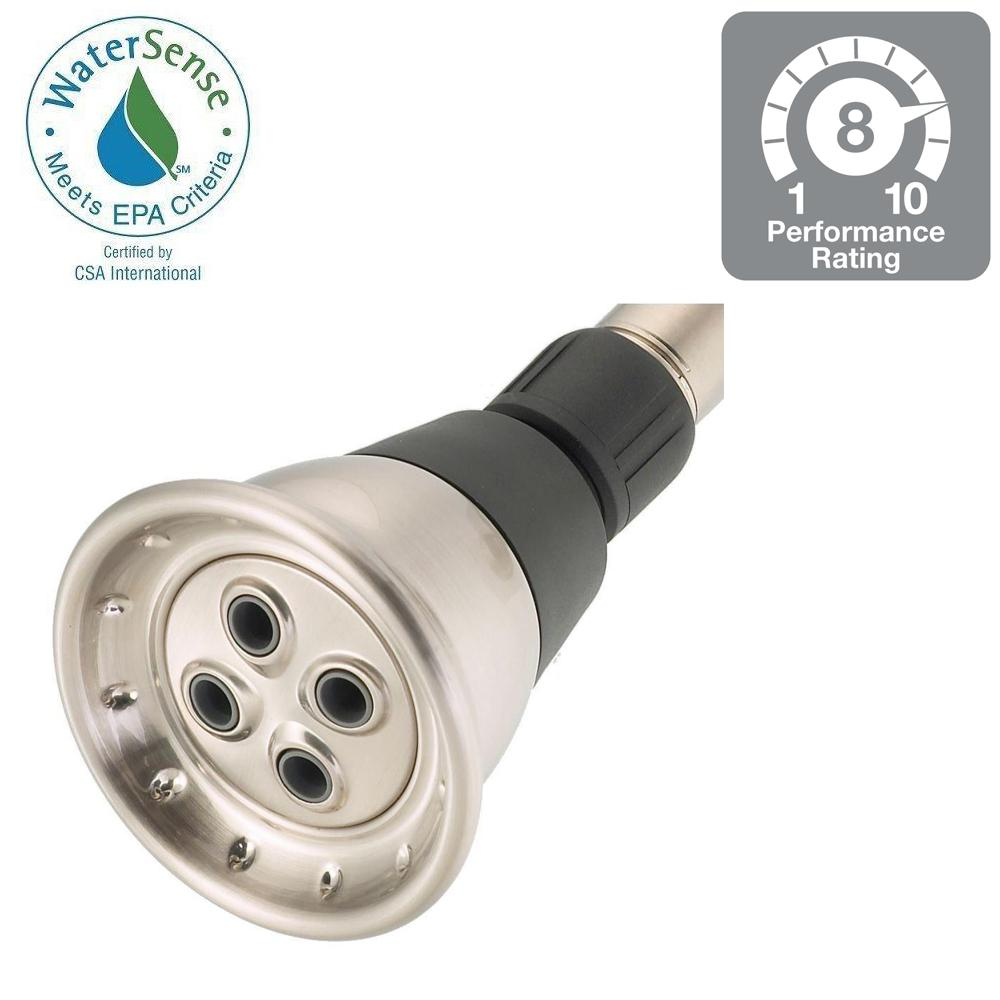Delta 1 spray 2 34 in water saving shower head in brushed nickel water saving shower head in brushed nickel 75153sn the home depot buycottarizona Gallery