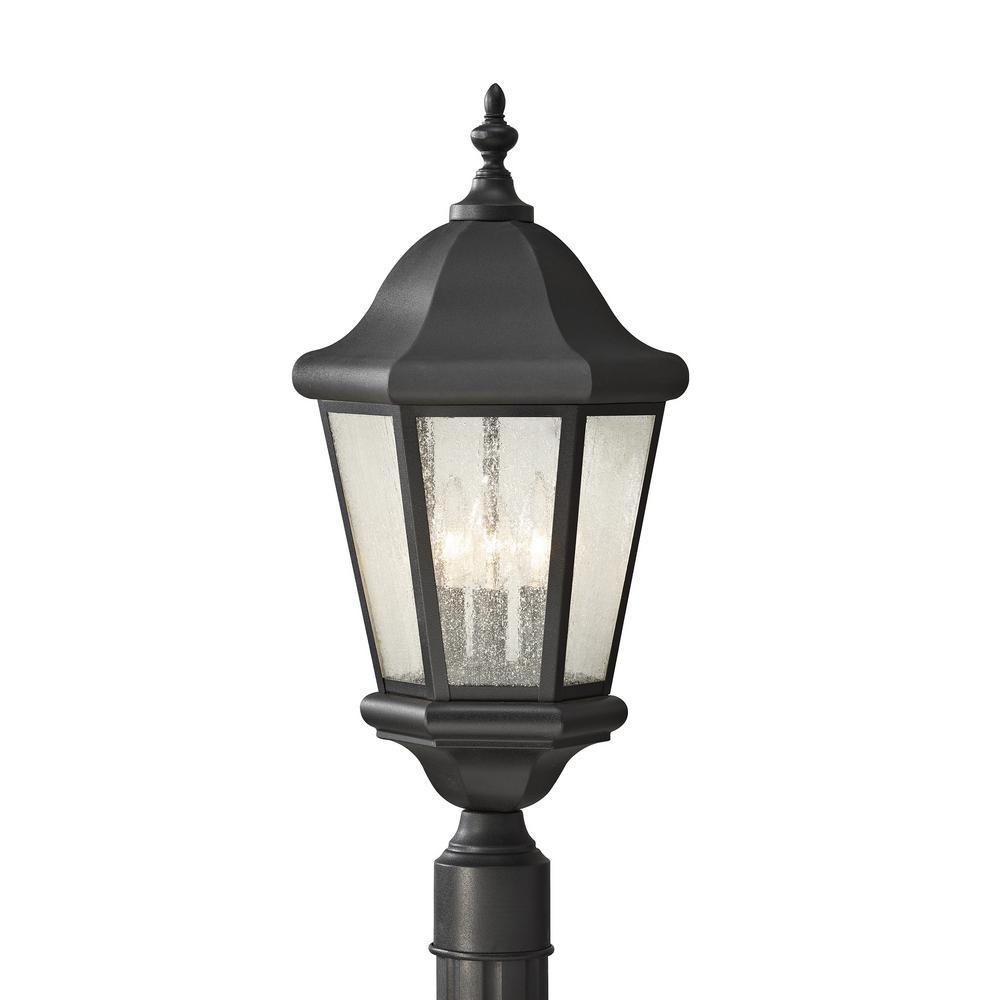 Martinsville 3-Light Black Outdoor Post Lantern