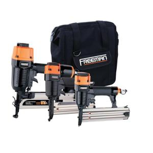 Click here to buy Freeman Pneumatic 3-Piece Kit with 16-Gauge Finish Nailer, 18-Gauge Brad Nailer and 18-Gauge Stapler with Bag by Freeman.