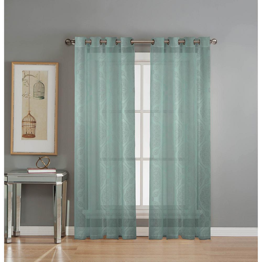 Sheer Diamante Cotton Blend Burnout Sheer 84 in. L Grommet Curtain Panel Pair, Aqua (Set of 2)