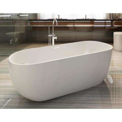 AB8838 59 in. Acrylic Flatbottom Bathtub in White