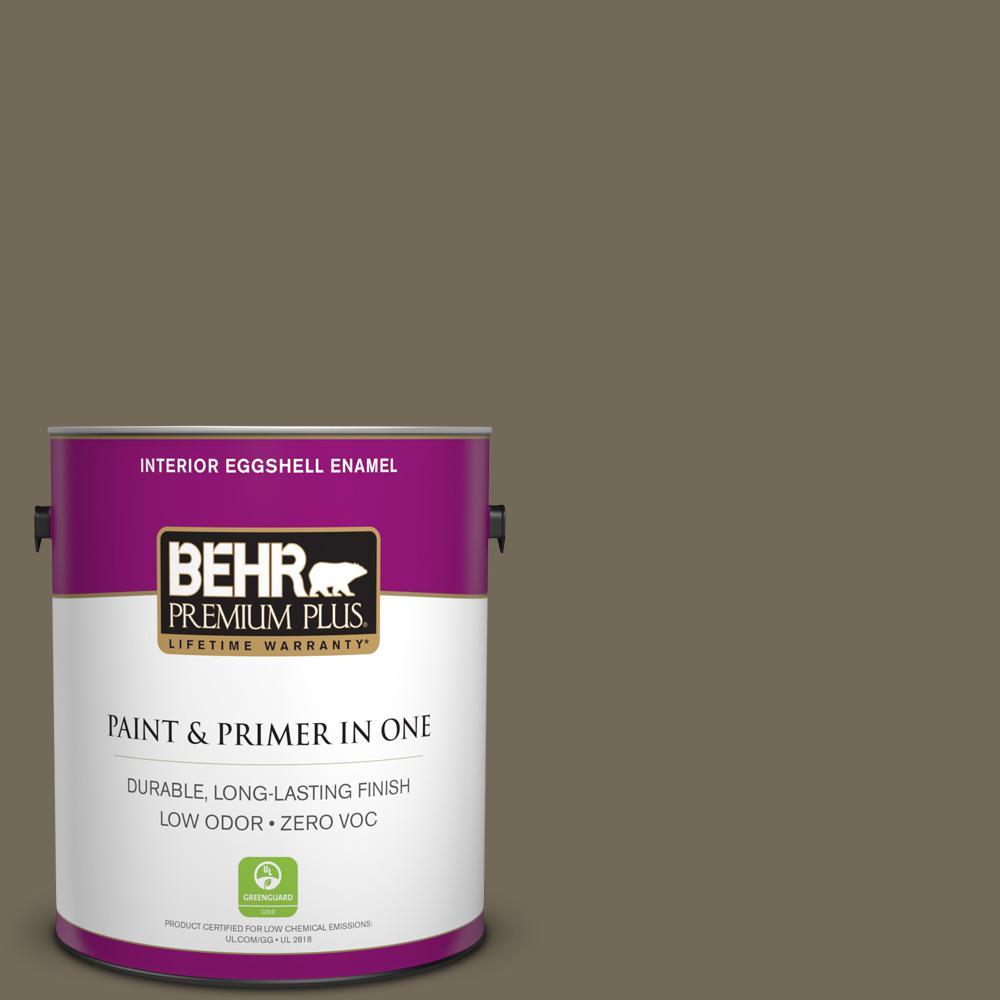 BEHR Premium Plus 1-gal. #720D-6 Toasted Walnut Zero VOC Eggshell Enamel Interior Paint