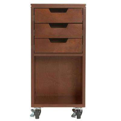 Avery 13 in. W 3-Drawer MDF Single Bin Mobile Cart in Chestnut