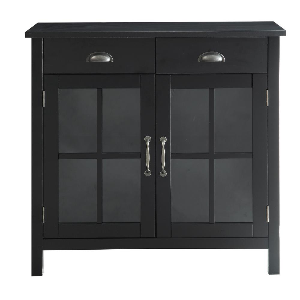 Charmant Urban Style Living Olivia Black Accent Cabinet, 2 Glass Doors And 2 Drawers