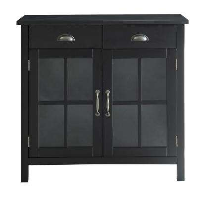 Olivia Black Accent Cabinet, 2-Glass Doors and 2-Drawers
