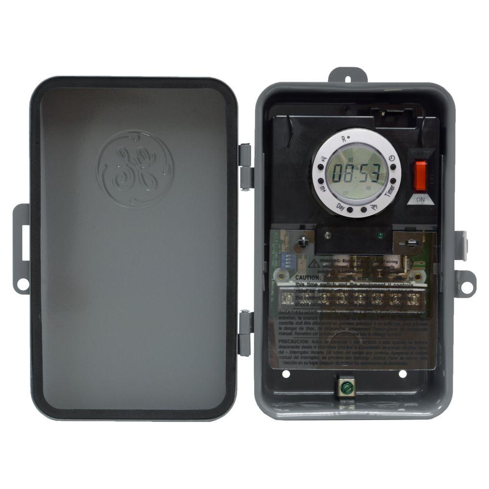 GE 7 Day Digital Outdoor Box Timer and On/Off Per Day