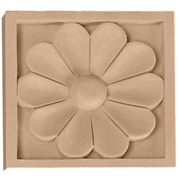 5/8 in. x 3 in. x 3 in. Unfinished Wood Maple Small Medway Rosette