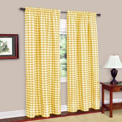 Buffalo Check Yellow Polyester/Cotton Curtain Panel - 42 in. W x 84 in. L