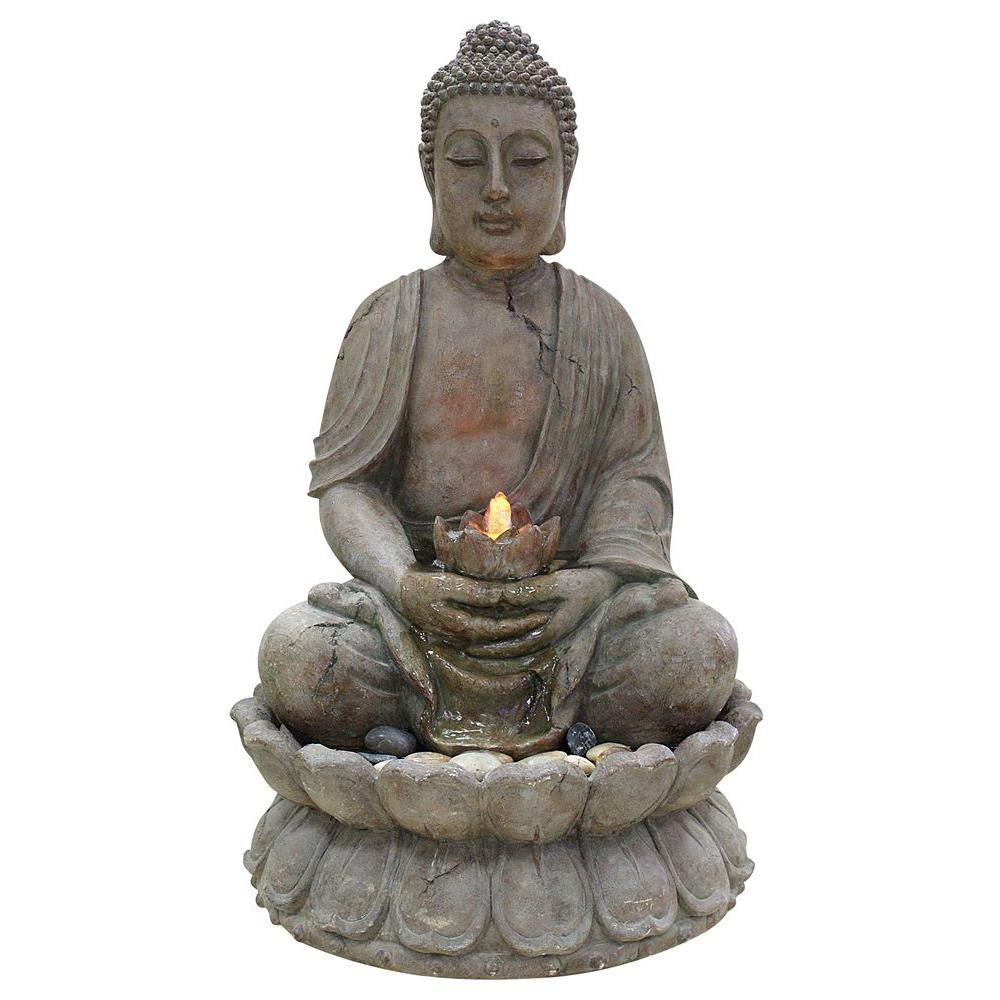 Alpine Buddha Water Feature Fountain with LED Lights, Gray