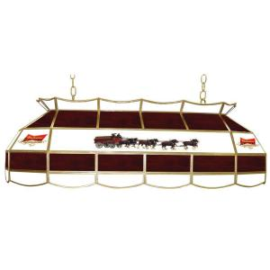 Trademark Global Budweiser Clydesdale 3 Light Stained Gl Hanging Tiffany Lamp Ab4000 Cly The Home Depot