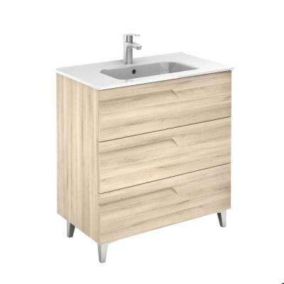 Vitale 32 in. W x 18 in. D 3-Drawers Vanity in Beige Nature with White Basin