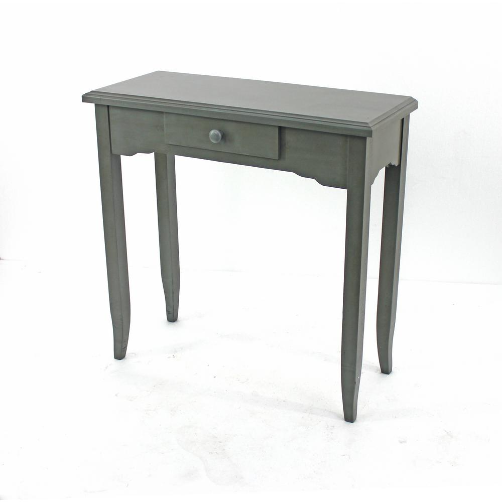 Grey Wood Console Table with Drawer