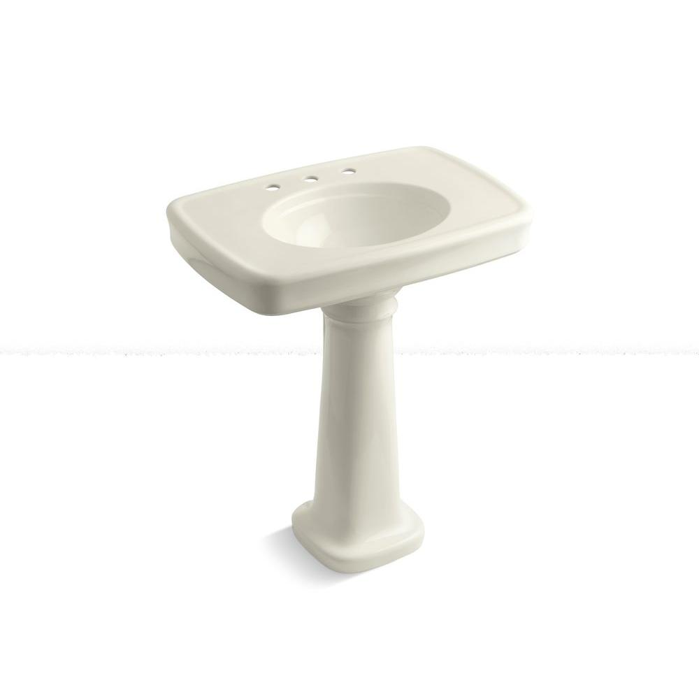 KOHLER Bancroft Vitreous China Pedestal Combo Bathroom Sink with 8 in. Centers in Biscuit with Overflow Drain