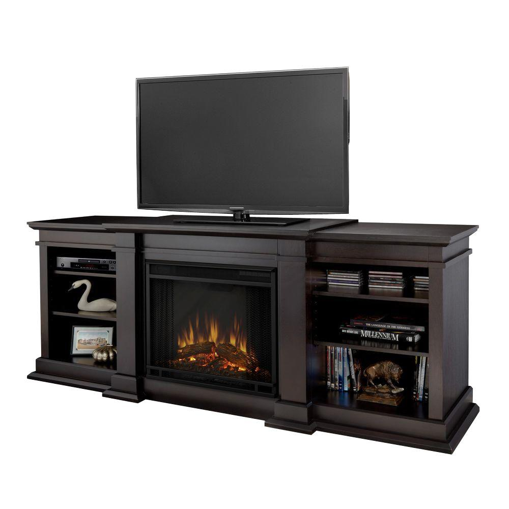 Real Flame Fresno 72 in. Media Console Electric Fireplace in Dark Walnut
