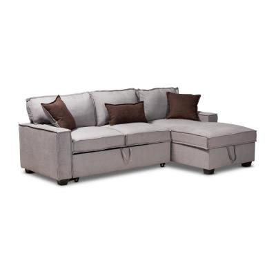 Emile 93.7 in. Gray Fabric 3-Seater Twin Sleeper Sectional Sofa Bed with Storage
