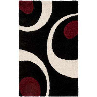 Florida Shag Black/Ivory 3 ft. 3 in. x 5 ft. 3 in. Area Rug