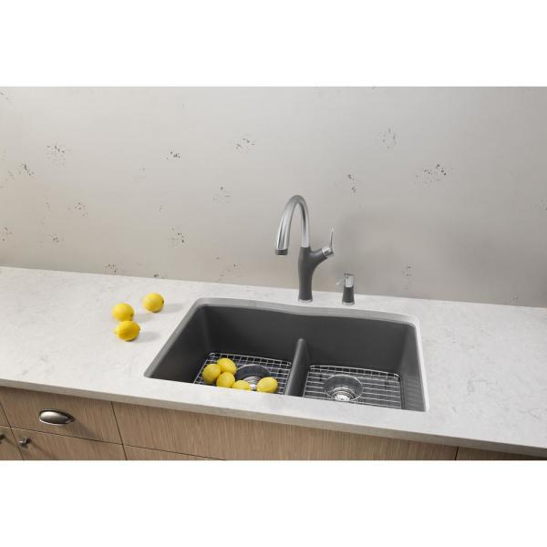 Blanco Diamond Undermount Granite 32 In X 19 25 In 50 50 Double Bowl Kitchen Sink In Cinder 442071 The Home Depot