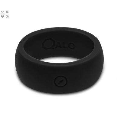 Men's Black Classic Silicone Wedding Ring with Compass