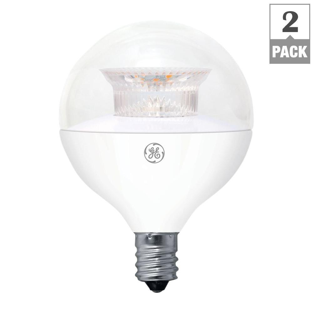 Ge 40w Equivalent Soft White G16 5 Globe Candelabra Base Dimmable Led Light Bulb 2 Pack