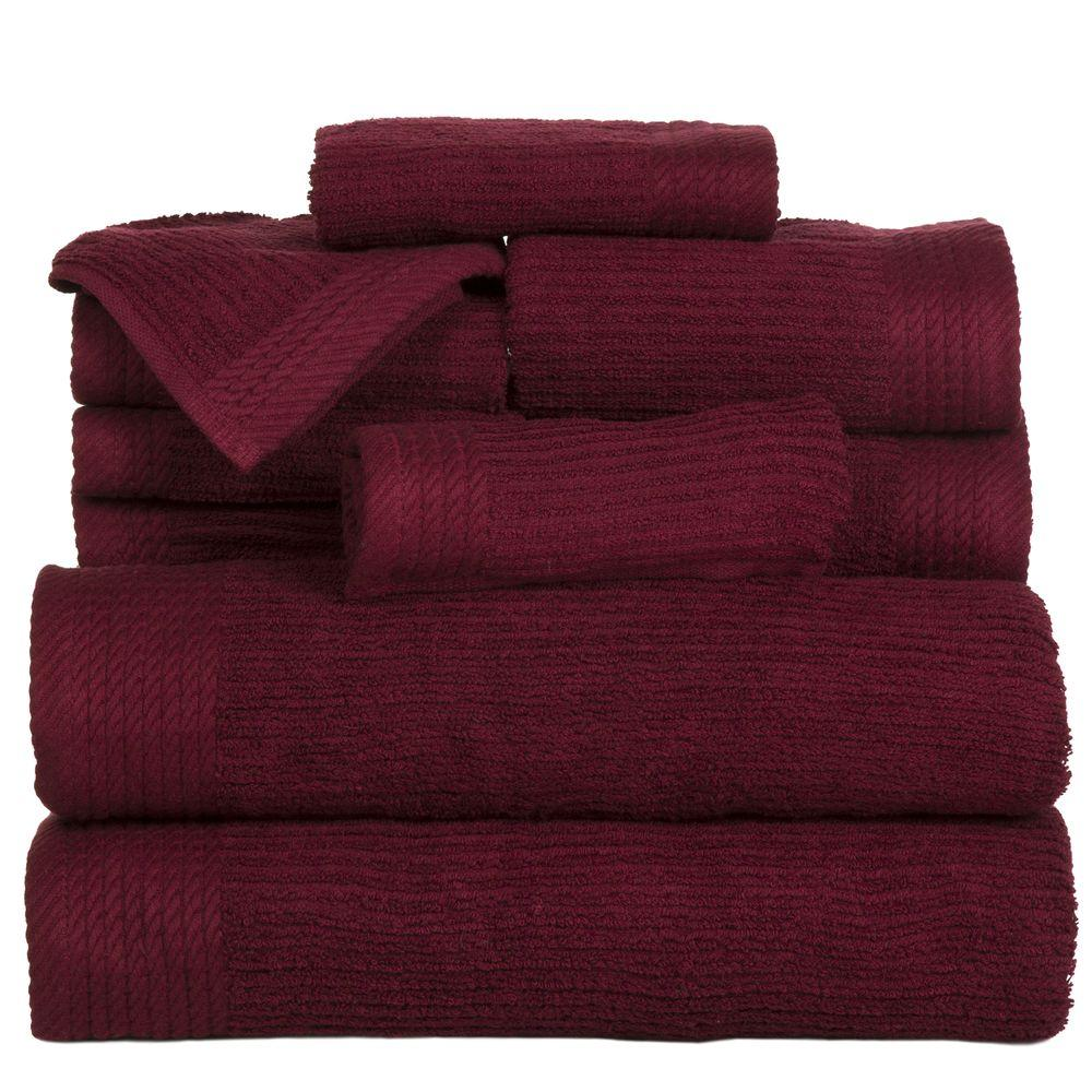 10-Piece Ribbed Egyptian Cotton Towel Set in Burgundy