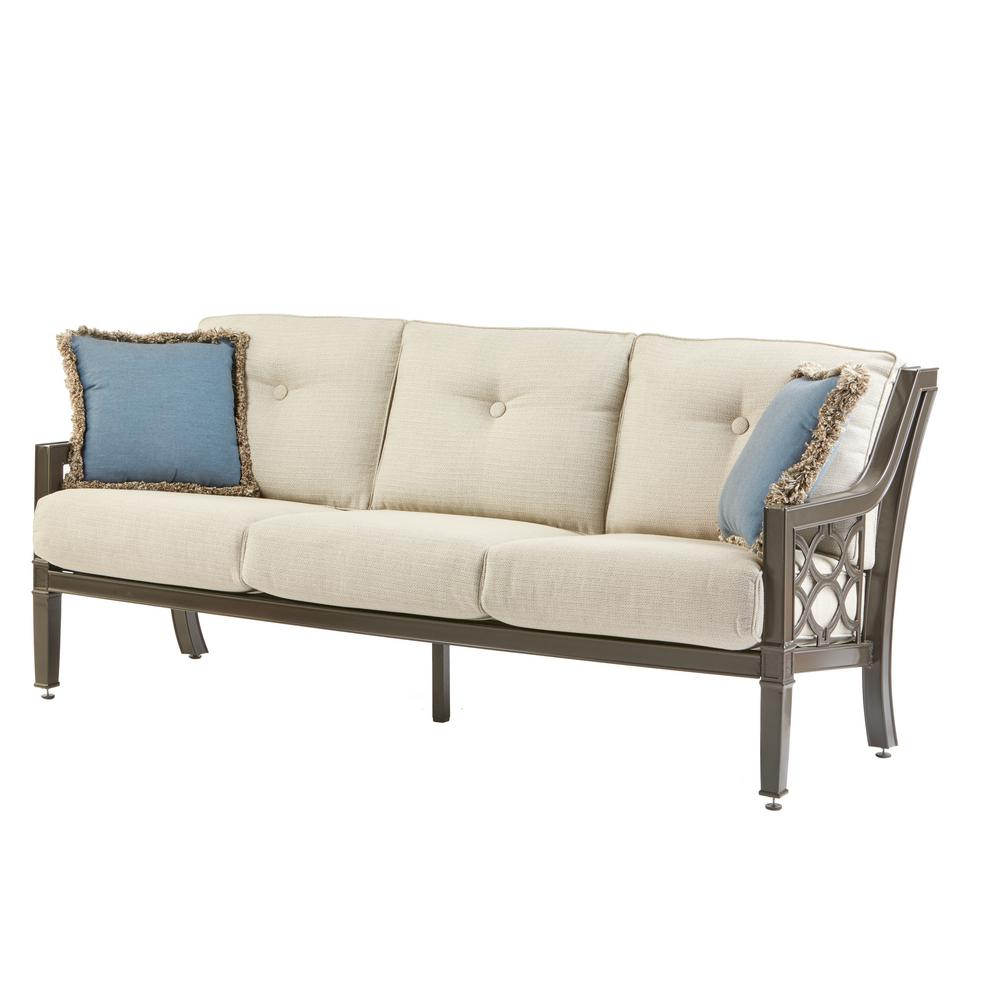 Home Decorators Collection Richmond Hill Heather Slate Aluminum Outdoor Sofa  With Hybrid Smoke Cushions