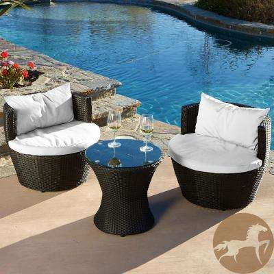 Kono Black 3-Piece Wicker Patio Conversation Set with White Cushions