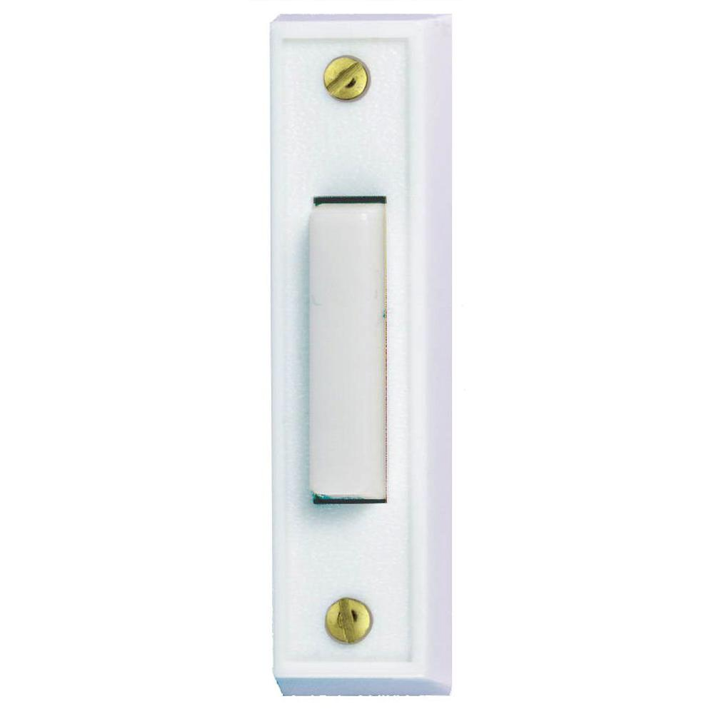 Hampton bay wired lighted door bell push button white hb for Door bell push