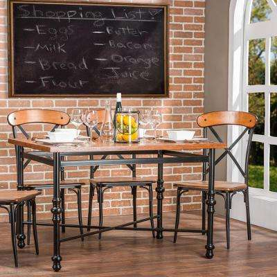 Broxburn Light Brown Wood and Metal Dining Table