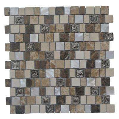 Charm II Cappuccino Glass and Stone Floor and Wall Tile - 3 in. x 6 in. Tile Sample