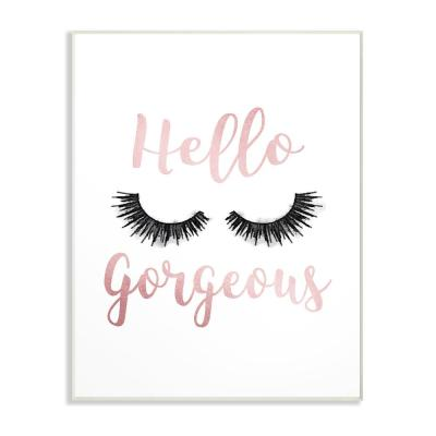 """10 in. x 15 in. """"Hello Gorgeous Black Eyelashes Typography"""" by Amanda Greenwood Wood Wall Art"""
