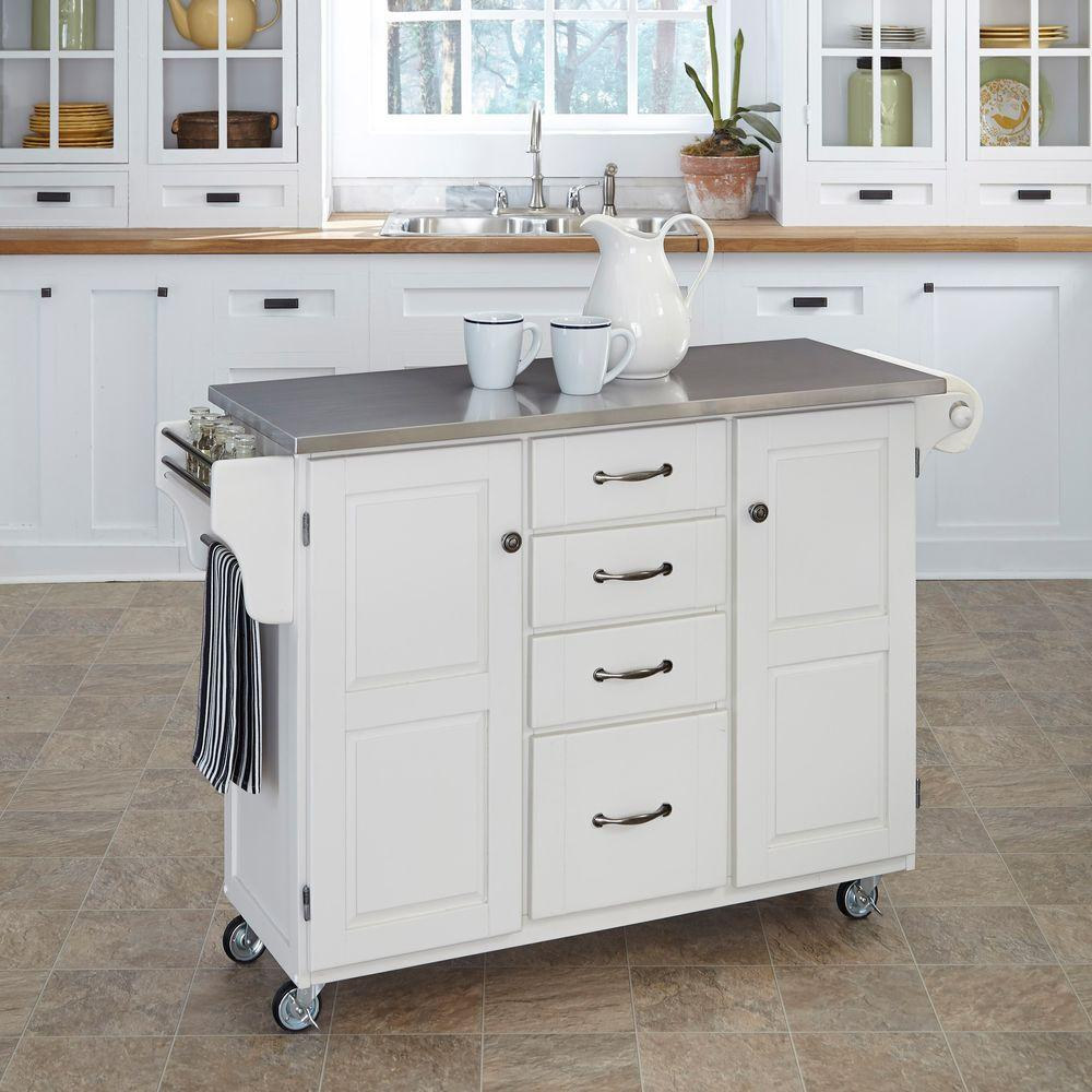 Home Styles Create-a-Cart White Kitchen Cart With Stainless Top-9100 ...