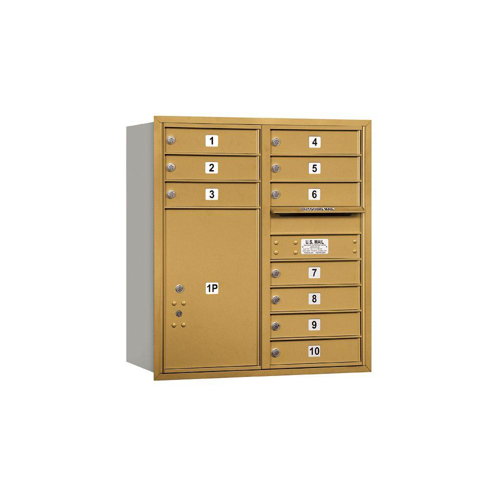 Salsbury Industries 3700 Series 34 in. 9 Door High Unit Gold Private Rear Loading 4C Horizontal Mailbox with 10 MB1 Doors/1 PL6