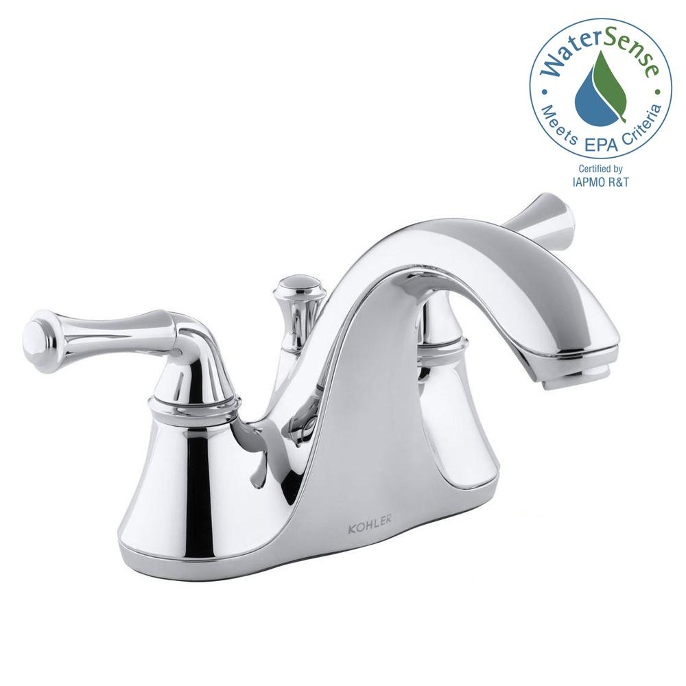 Forte 4 in. Centerset 2-Handle Low-Arc Water-Saving Bathroom Faucet in Polished