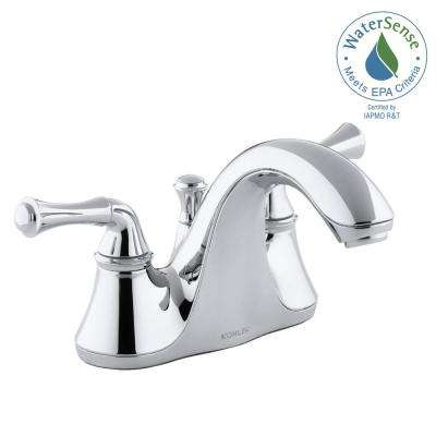 Forte 4 in. Centerset 2-Handle Low-Arc Water-Saving Bathroom Faucet in Polished Chrome with Traditional Lever Handles