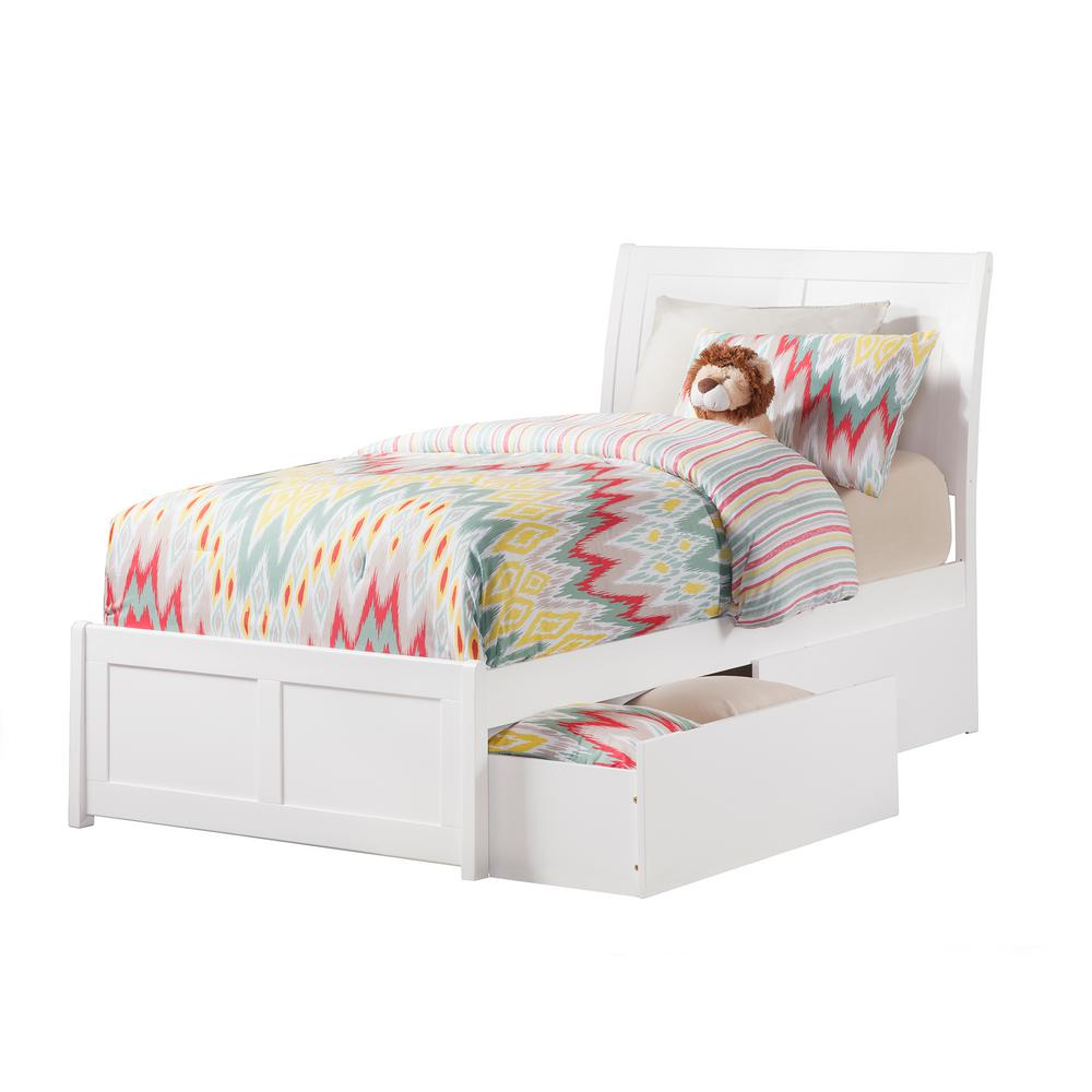Portland White Twin Platform Bed with Matching Foot Board with 2-Urban
