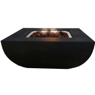 Aurora 34 in. x 14 in. Round Concrete Natural Gas Fire Pit in Black with Canvas Cover and Lava Rock