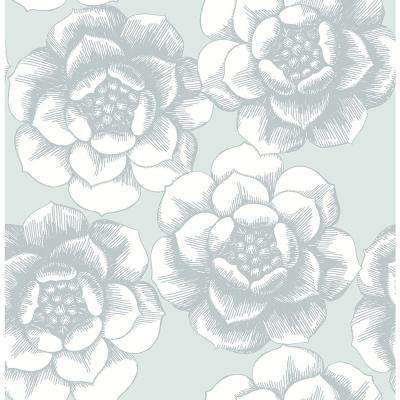 56.4 sq. ft. Fanciful Silver Floral Wallpaper