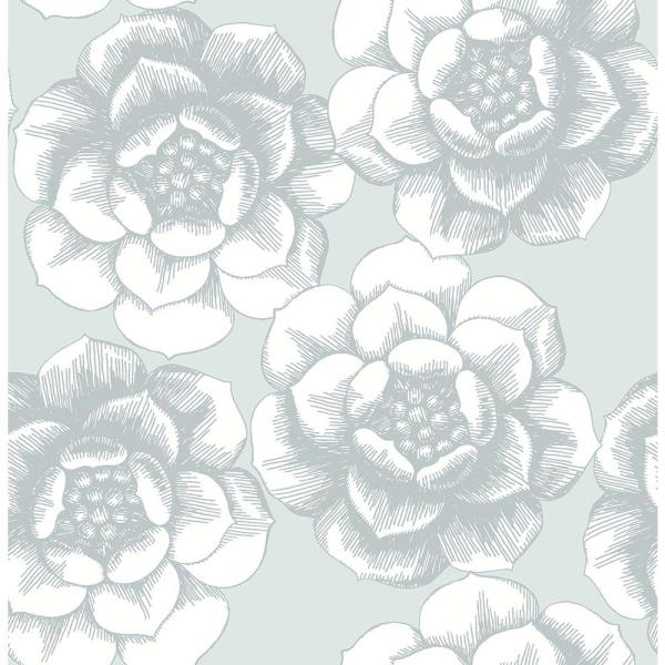 A-Street 8 in. x 10 in. Fanciful Silver Floral Wallpaper Sample