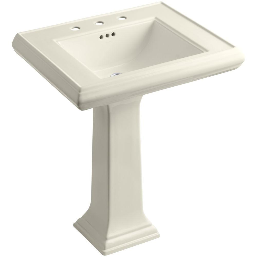 Memoirs Ceramic Pedestal Bathroom Sink In Almond With Overflow Drain