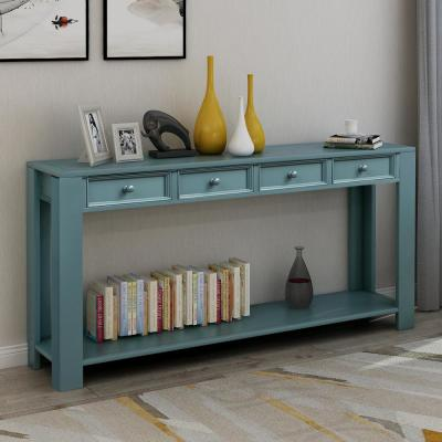 64 in. Dark Blue Standard Rectangle Wood Console Table with 4-Drawers