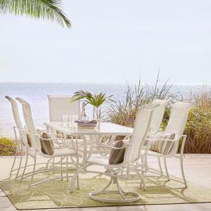 Deals on Hampton Bay Statesville Shell 7-Piece Aluminum Outdoor Dining Set