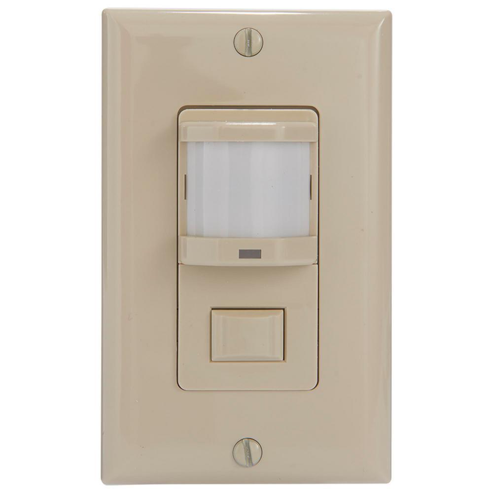 IOS Series 500-Watt PIR Vacancy/Occupancy Sensor Switch Residential In-Wall 150-Coverage Pattern, Ivory