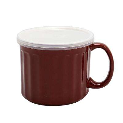 Soup Traveler 19 oz. Stoneware Cup with Lid in Burgundy